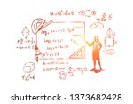 mathematician with pointer ... | Shutterstock .eps vector #1373682428