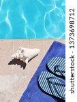 poolside swimming pool blue...   Shutterstock . vector #1373698712