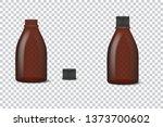 transparent brown glass bottle... | Shutterstock .eps vector #1373700602