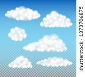 fluffy clouds isolated  set of... | Shutterstock .eps vector #1373706875