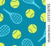 tennis ball and racquet... | Shutterstock .eps vector #1373718782