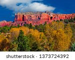Arizona, Sedona, Cathedral mountain landscape, fall in the Coconino national forest.