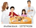 family breakfast. eps 10 vector ... | Shutterstock .eps vector #137374106