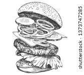 big burger  hamburger hand... | Shutterstock .eps vector #1373747285