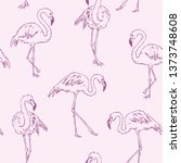 seamless pattern with flamingo. ...   Shutterstock .eps vector #1373748608