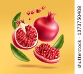 realistic pomegranate whole ...   Shutterstock .eps vector #1373750408