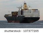 big container cargo ship at sea | Shutterstock . vector #137377205
