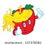 happy face mascot noodle | Shutterstock .eps vector #137378582