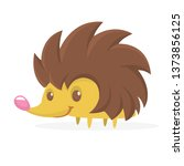funny cartoon hedgehog.... | Shutterstock .eps vector #1373856125