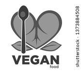 plant leaves and spoon vegan... | Shutterstock .eps vector #1373884508