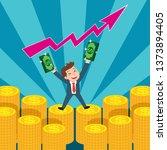 businessman holding red arrow... | Shutterstock .eps vector #1373894405