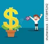 businesswoman watering big... | Shutterstock .eps vector #1373895242