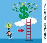 businesswoman with idea light... | Shutterstock .eps vector #1373896742