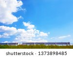 the cloudy bright blue sky with ... | Shutterstock . vector #1373898485