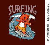 surfing cat illustration | Shutterstock .eps vector #1373900192