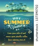 vintage summer vacation poster | Shutterstock .eps vector #137390702