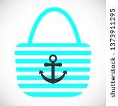 beach bag with anchor flat... | Shutterstock .eps vector #1373911295