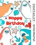 kawai sharks are smiling ... | Shutterstock .eps vector #1373912432