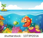 illustration of a sea with... | Shutterstock .eps vector #137392016