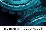 blue 3d rendered metal gears... | Shutterstock . vector #1373943335