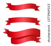 flat vector red ribbons banners ... | Shutterstock .eps vector #1373969315