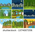 set os nature landscape...   Shutterstock .eps vector #1374007358