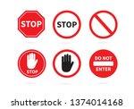 traffic sign stop set.... | Shutterstock .eps vector #1374014168