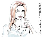 fashion illustration of young... | Shutterstock . vector #1374028382