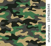camouflage seamless pattern... | Shutterstock .eps vector #1374036545