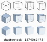 3d cube. isometric and... | Shutterstock .eps vector #1374061475