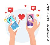 mobile online dating service... | Shutterstock .eps vector #1374128375