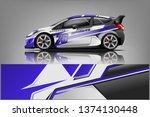 car decal wrap design vector.... | Shutterstock .eps vector #1374130448