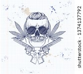 hand drawn sketch  skull with ... | Shutterstock .eps vector #1374137792