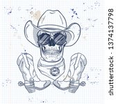 sketch  skull with cowboy hat ... | Shutterstock .eps vector #1374137798