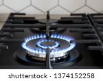 Gas Burner On Black Modern...