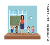 teacher female with school kids ... | Shutterstock .eps vector #1374153992