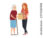 woman volunteer giving a old...   Shutterstock .eps vector #1374184508