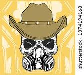 cowboy skull wearing...   Shutterstock .eps vector #1374194168
