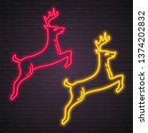 deer icon neon red and yellow... | Shutterstock .eps vector #1374202832