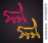 cat icon neon red and yellow... | Shutterstock .eps vector #1374203075