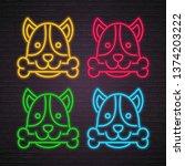 dog illustration neon light... | Shutterstock .eps vector #1374203222