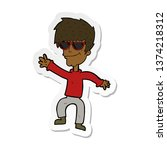 sticker of a cartoon waving... | Shutterstock . vector #1374218312