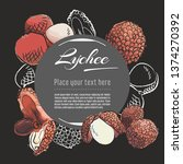 lychee vector hand drawn... | Shutterstock .eps vector #1374270392