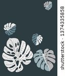 vector tropical pattern with... | Shutterstock .eps vector #1374335858