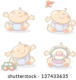 fun cheerful babies set  ... | Shutterstock . vector #137433635