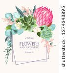 vintage wedding card with... | Shutterstock .eps vector #1374343895