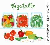 marinated vegetables in glass... | Shutterstock .eps vector #1374386768