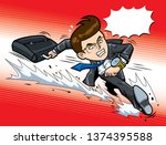 hurry up for work | Shutterstock .eps vector #1374395588
