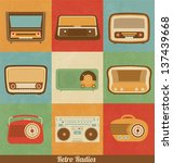 retro radio icons | Shutterstock .eps vector #137439668