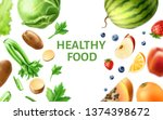 healthy food pattern. realistic ... | Shutterstock .eps vector #1374398672